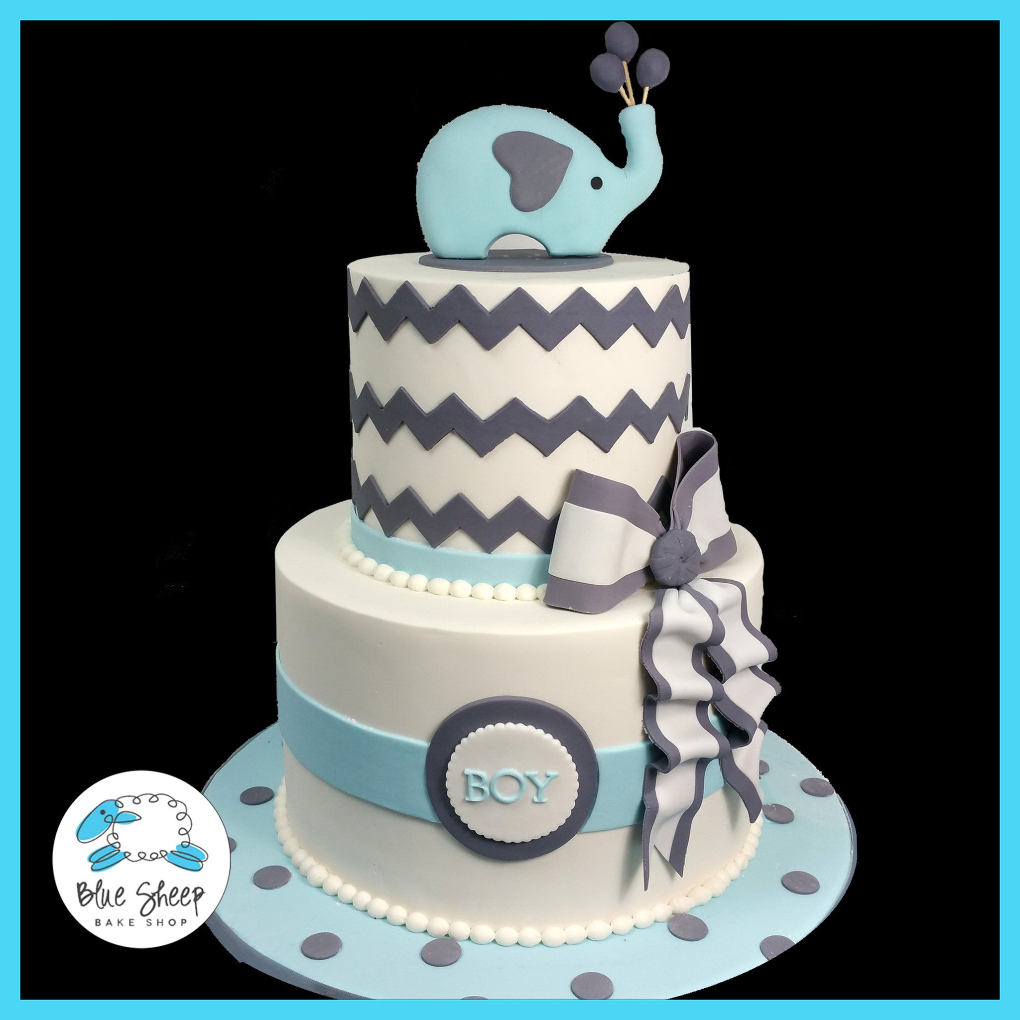 Elephant and Chevron Baby Shower Cake II Blue Sheep Bake Shop