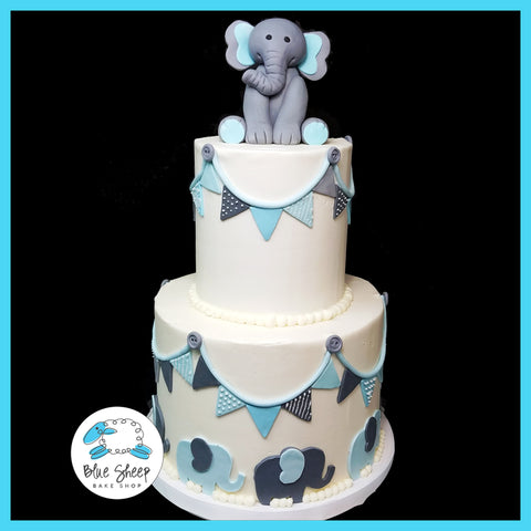 buttercream elephant baby shower cake nj
