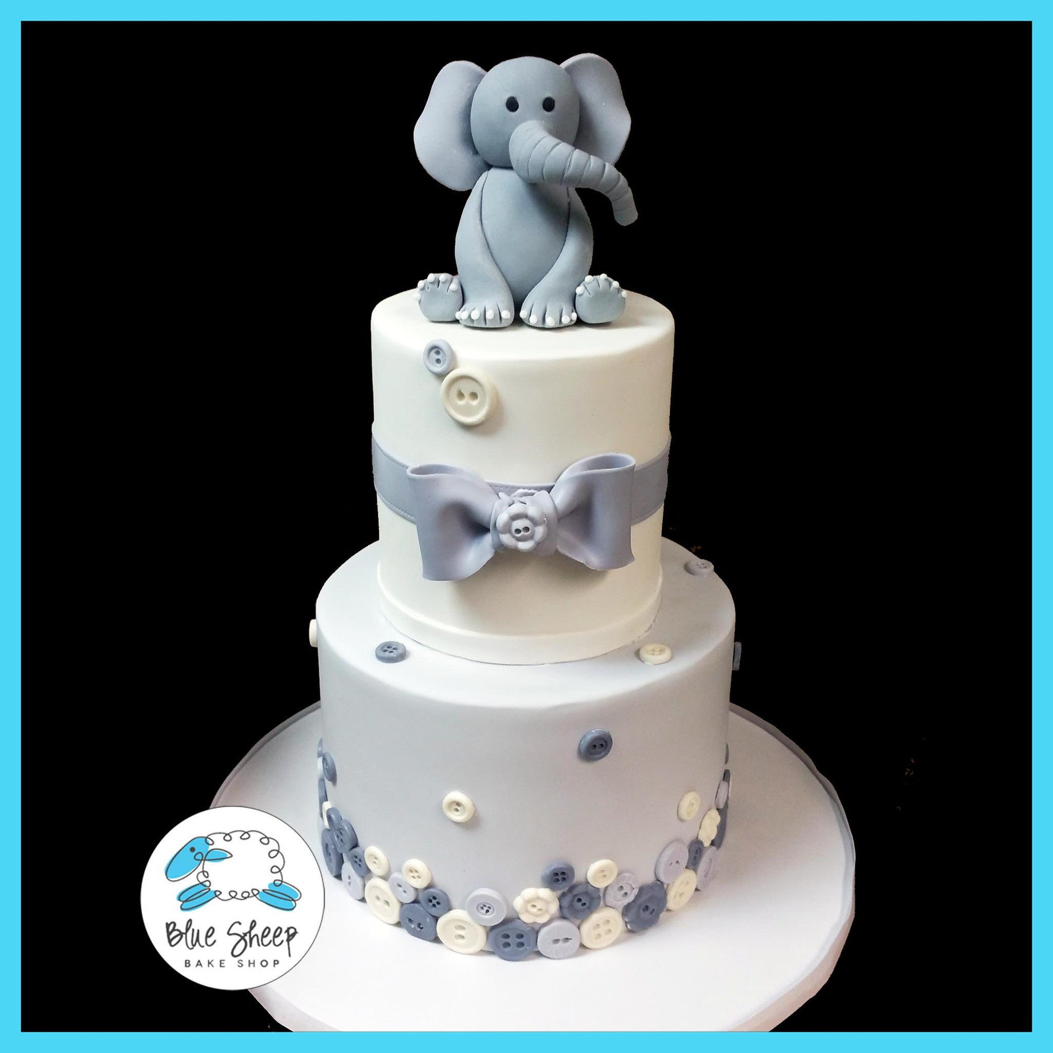 Elephant and Buttons Baby Shower Cake