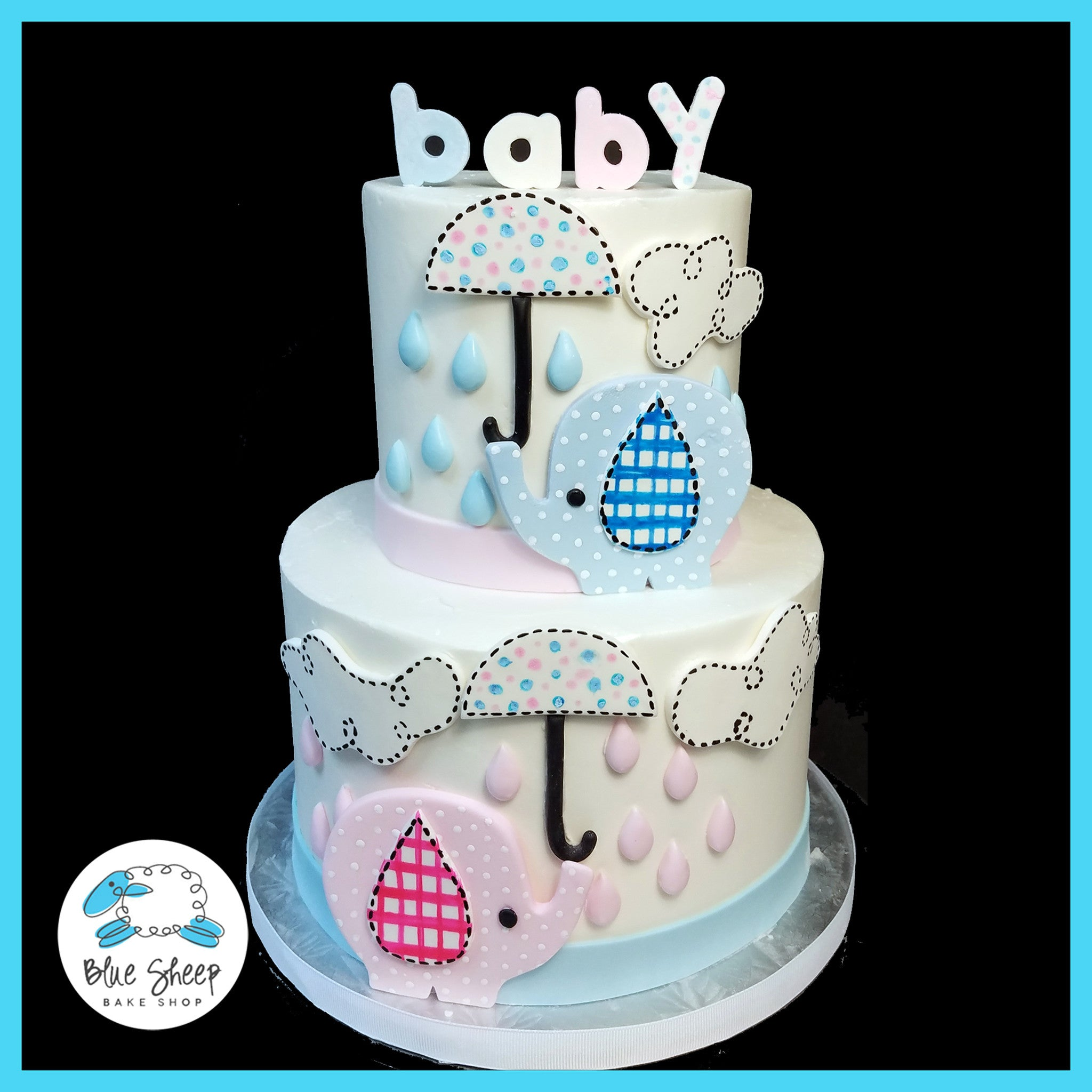 gender reveal elephant baby shower cake