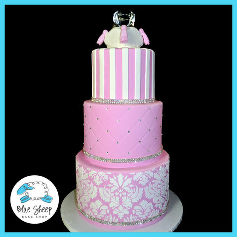 Pink and Glam Engagement Party Cake