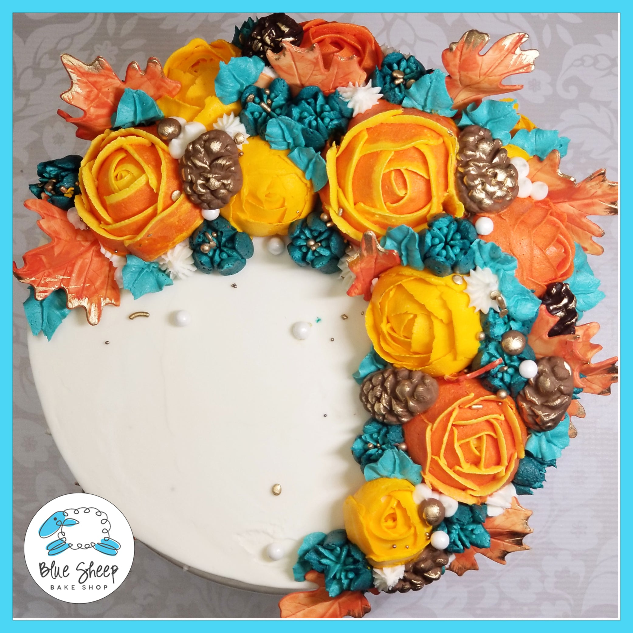 Enjoyable Fall Inspired Coronet Birthday Cake Blue Sheep Bake Shop Funny Birthday Cards Online Elaedamsfinfo