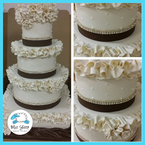 ivory and cocoa fondant wedding cake nj