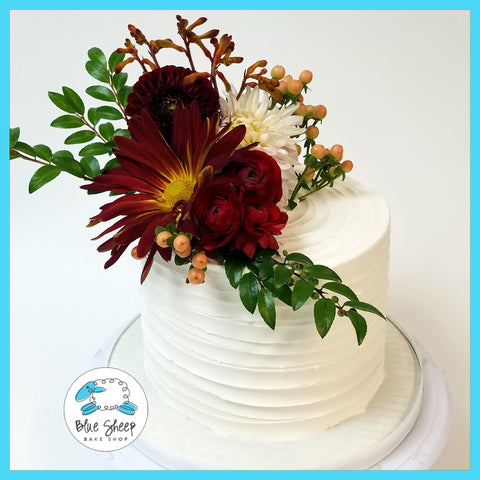 Wedding Cupcake Tower with Fresh Fall Blooms
