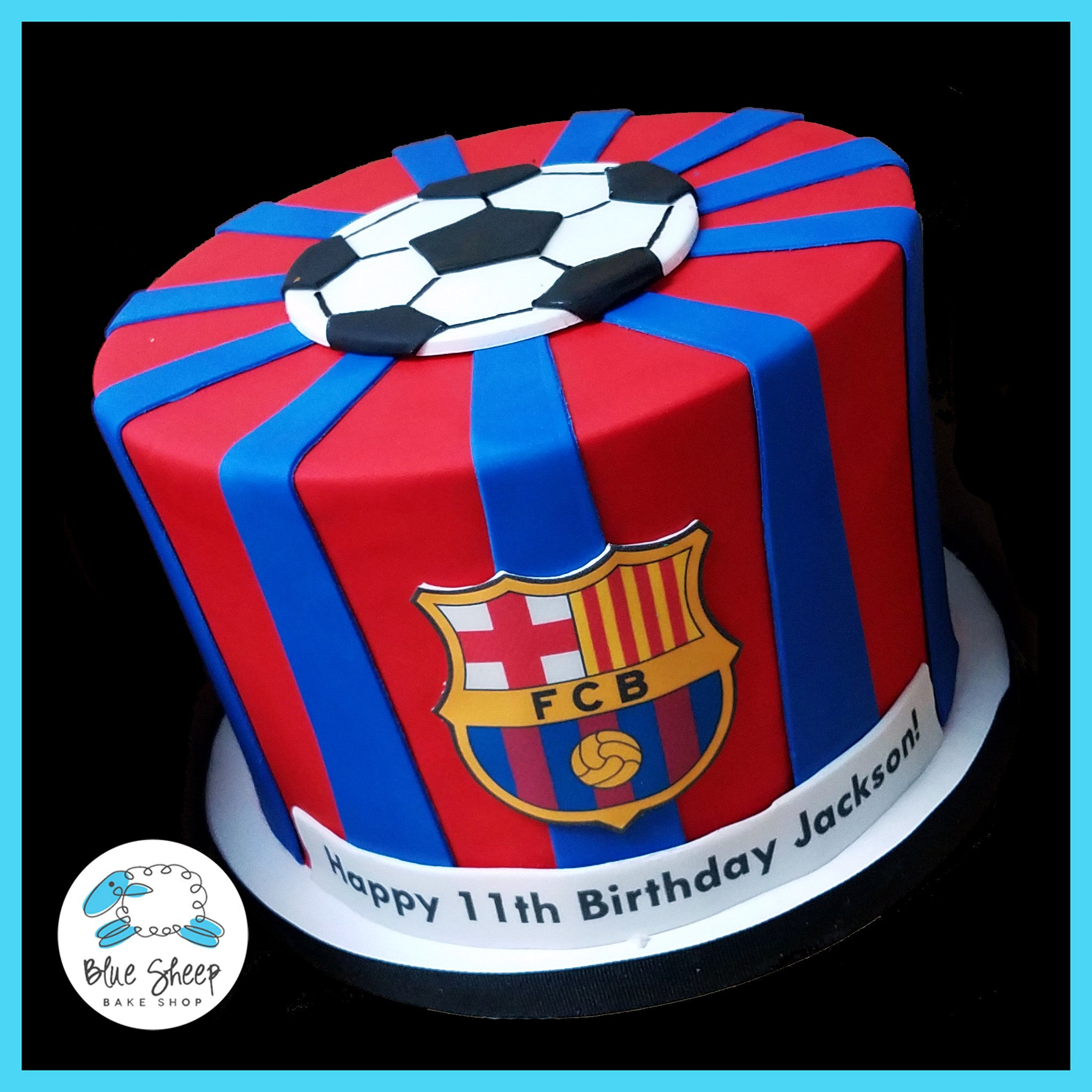 Fcb Soccer Birthday Cake Blue Sheep Bake Shop