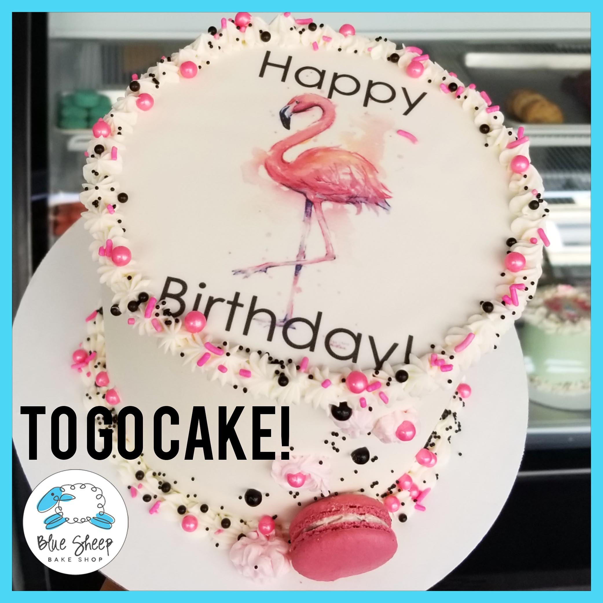 Awesome Flamingo To Go Birthday Cake Blue Sheep Bake Shop Personalised Birthday Cards Bromeletsinfo