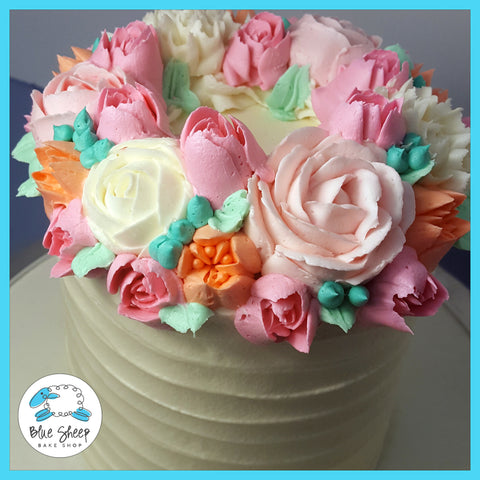 buttercream birthday cake with flowers nj