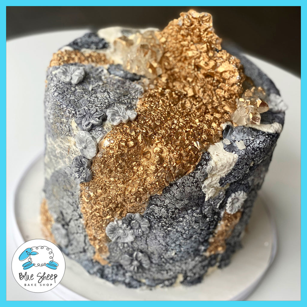 Stone fondant geode inspired birthday cake custom cakes nj
