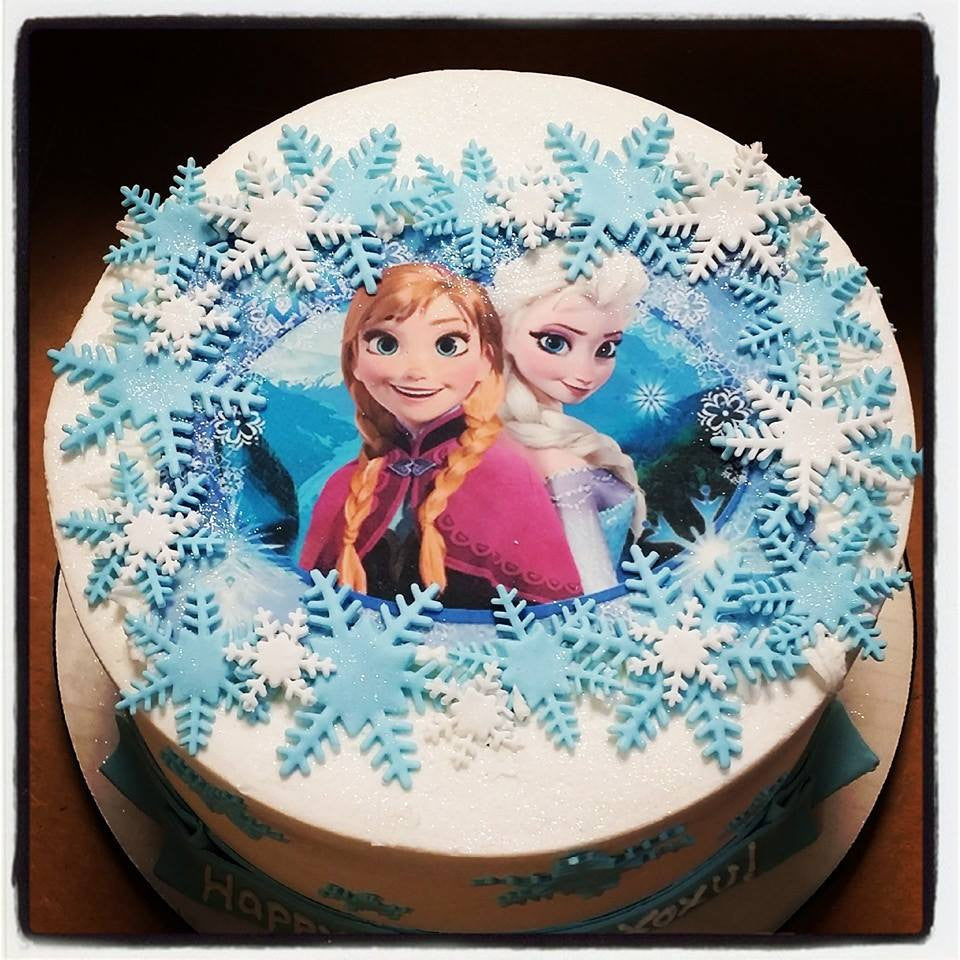 Anna Elsa Frozen Buttercream Cake Blue Sheep Bake Shop