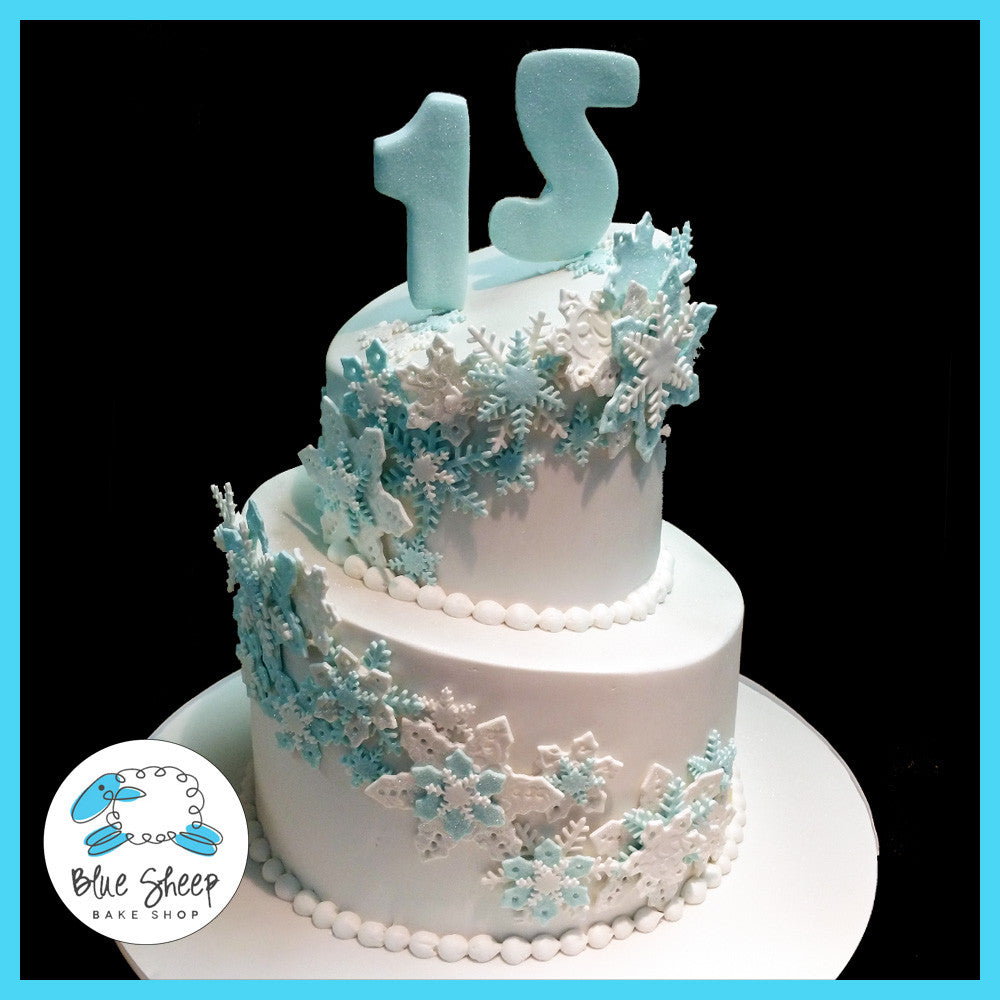 Topsy Turvy Snowflake Birthday Cake Blue Sheep Bake Shop