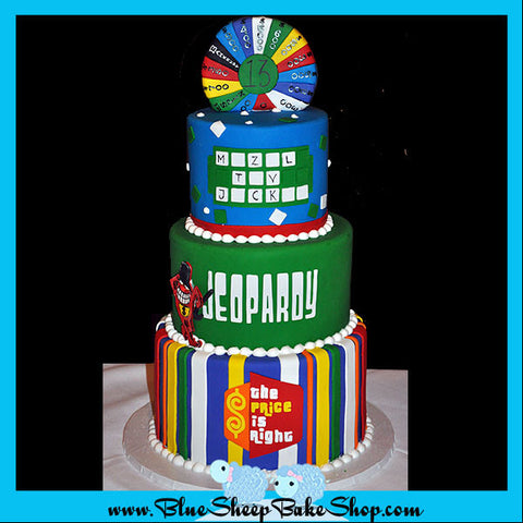 gameshow bat mitzvah  cake - jeopardy, the price is right, and wheel of fortune cake, custom cakes nj