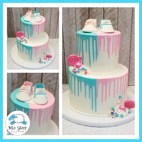 Gender Reveal Pink and Blue Drip Cake with Fondant Baby Sneakers NJ