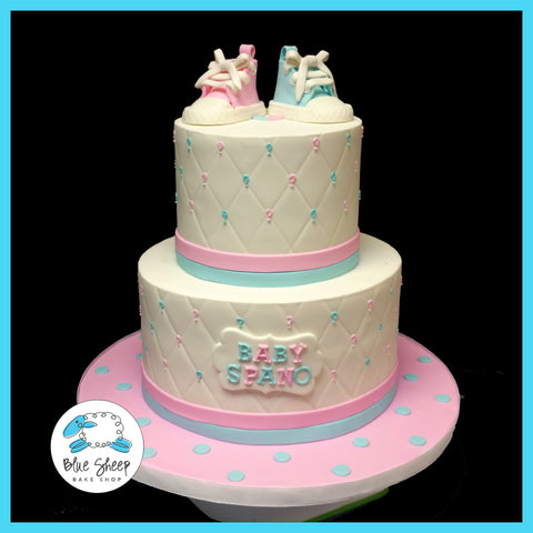 Quilted Gender Reveal Cake