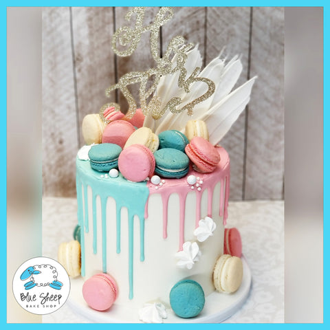 Gender Reveal Macaron Drip Cake - NJ Baby Shower Gender Reveal Cakes