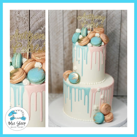 pink and blue gender reveal macaron drip baby shower cake nj custom cakes