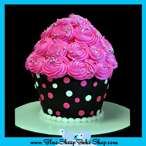 Giant Pink and Black Polka Dotted Cupcake Cake