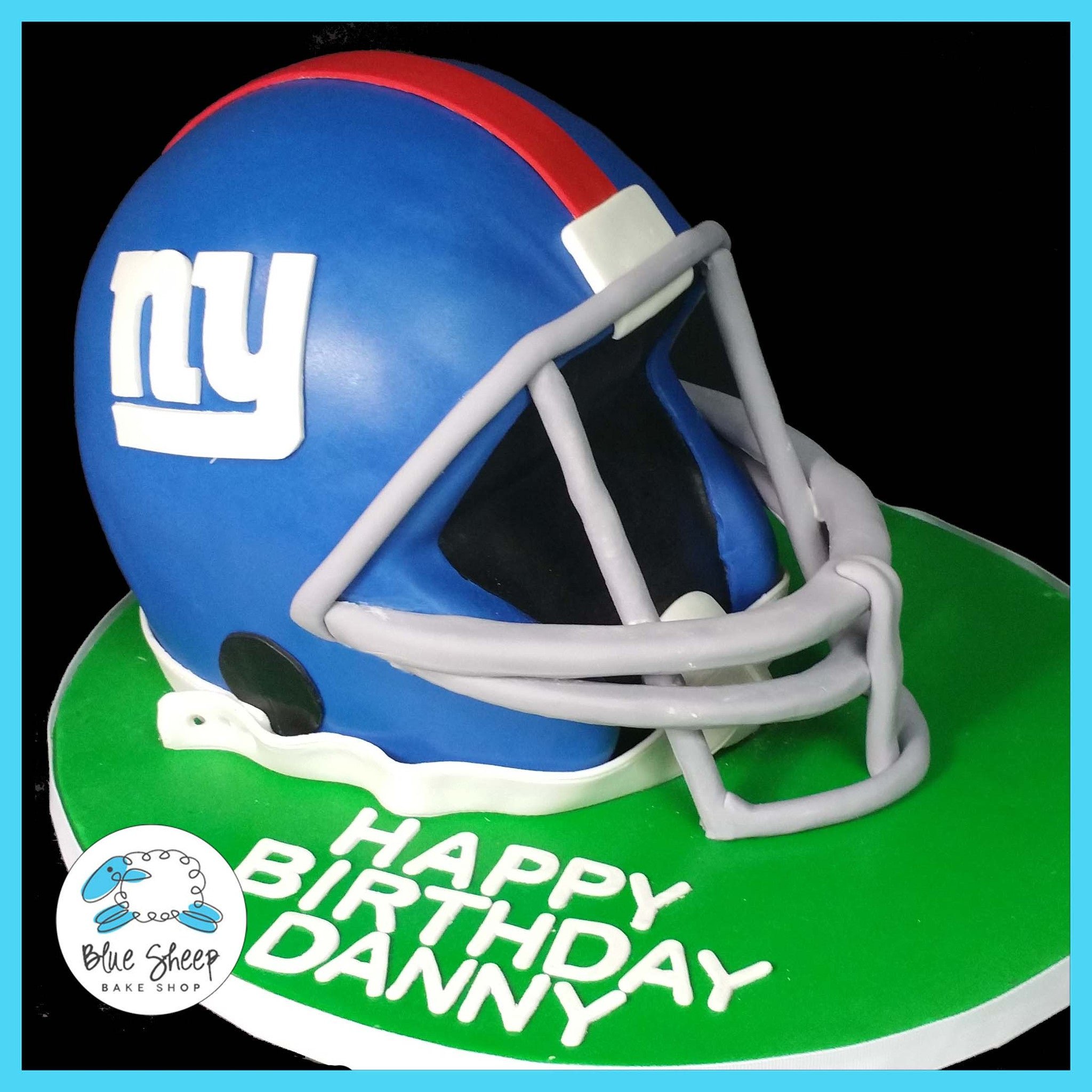 Remarkable Giants Helmet Birthday Cake Blue Sheep Bake Shop Funny Birthday Cards Online Inifodamsfinfo