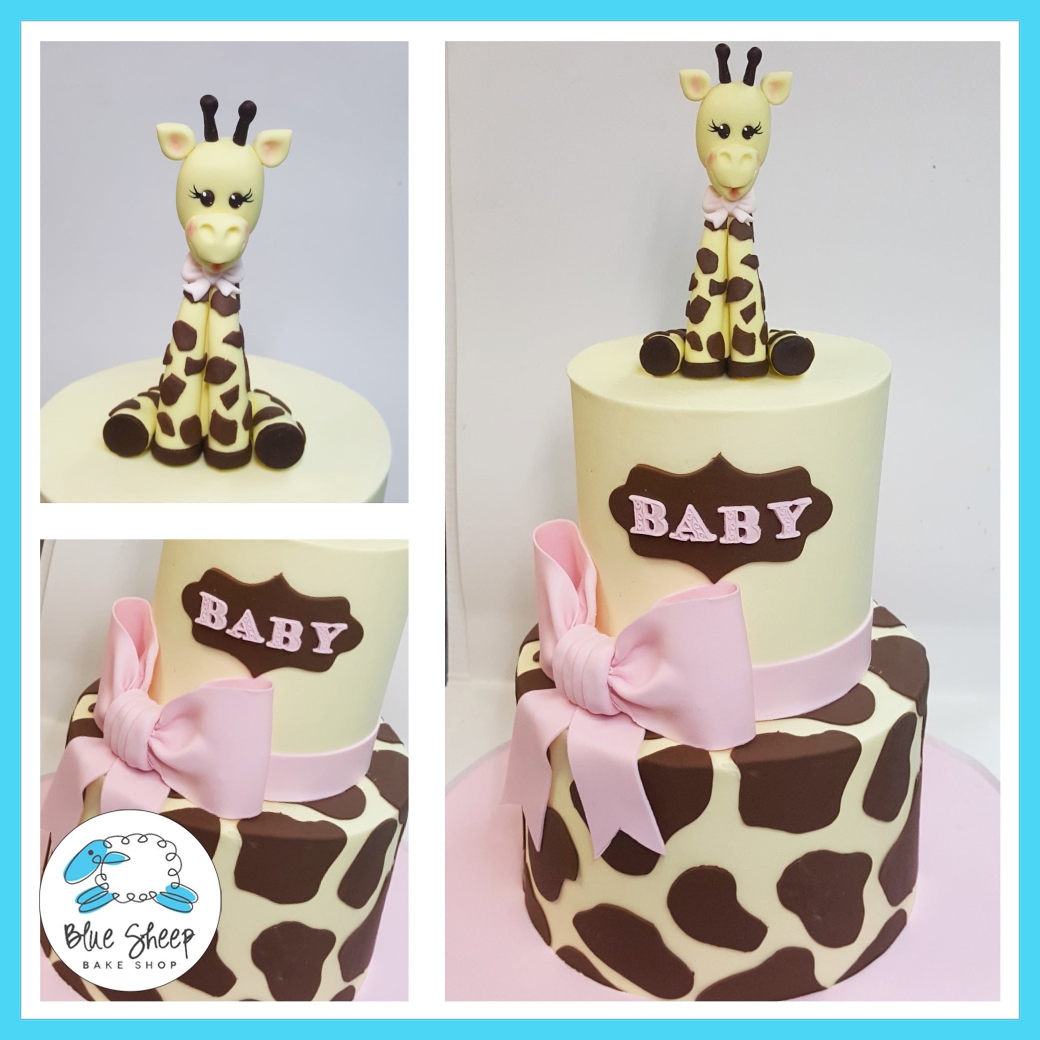 Pink Giraffe Baby Shower Cake Blue Sheep Bake Shop