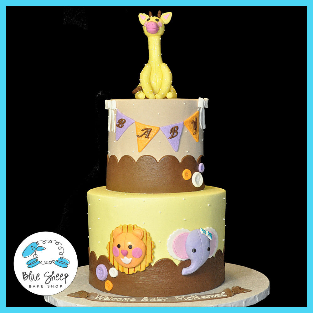 Chic Safari Jungle Baby Shower Cake Blue Sheep Bake Shop