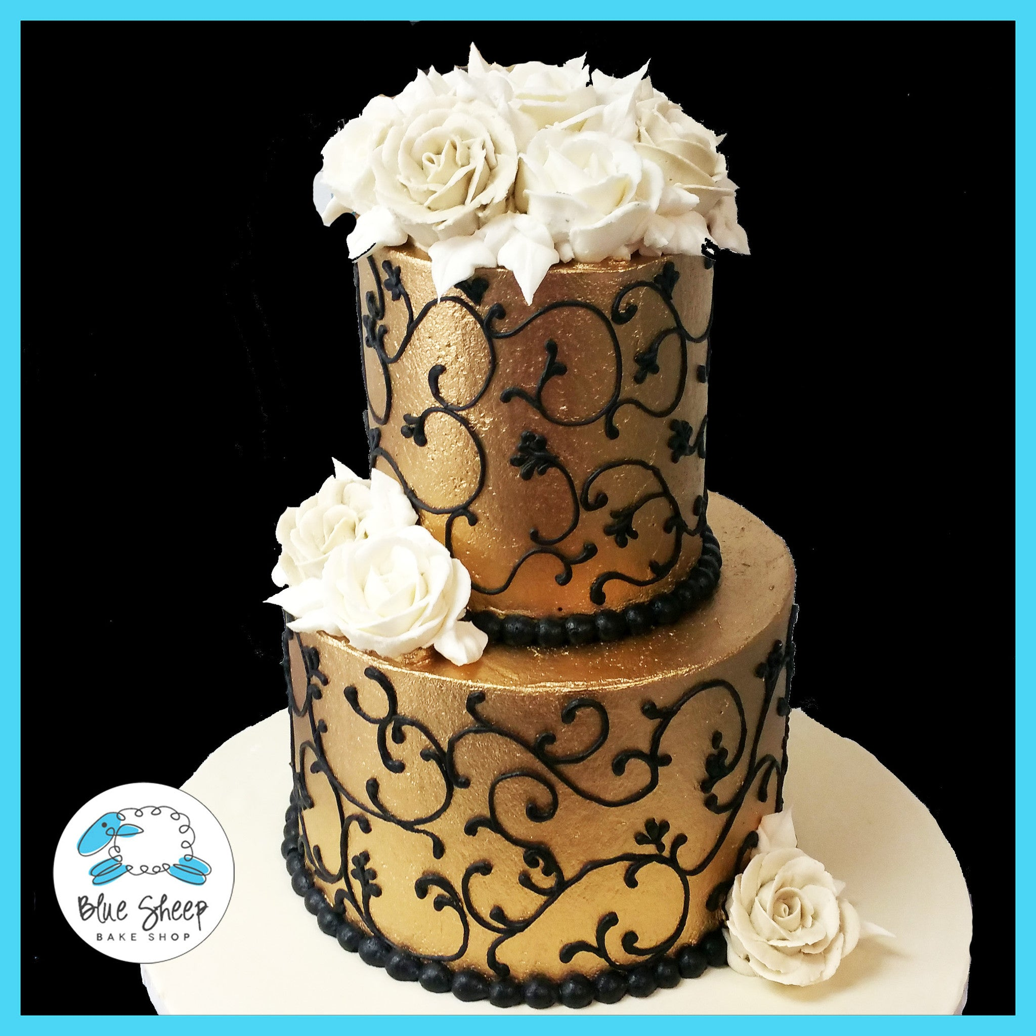 Remarkable Gold And Black Buttercream Birthday Cake Blue Sheep Bake Shop Funny Birthday Cards Online Alyptdamsfinfo