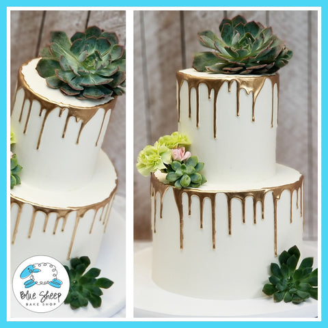 Gold Drip & Succulents Wedding Cake - Blue Sheep Bake Shop  NJ