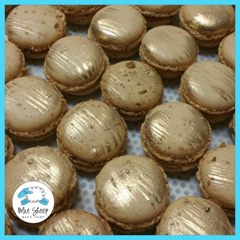 gold painted macaron party favors nj
