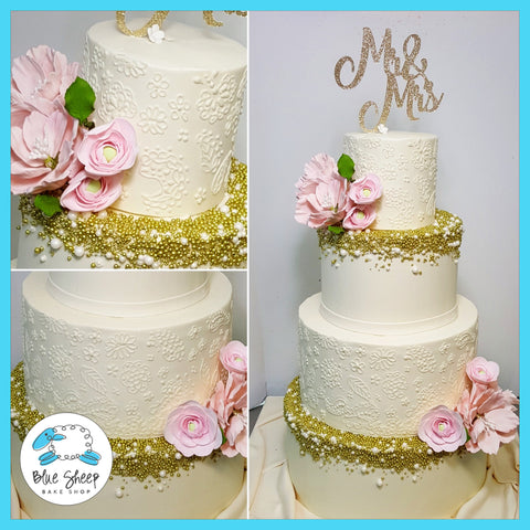 henna buttercream wedding cake with gold pearls nj