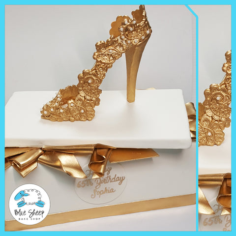 gold lace sugar shoe 60th birthday cake best cakes in nj