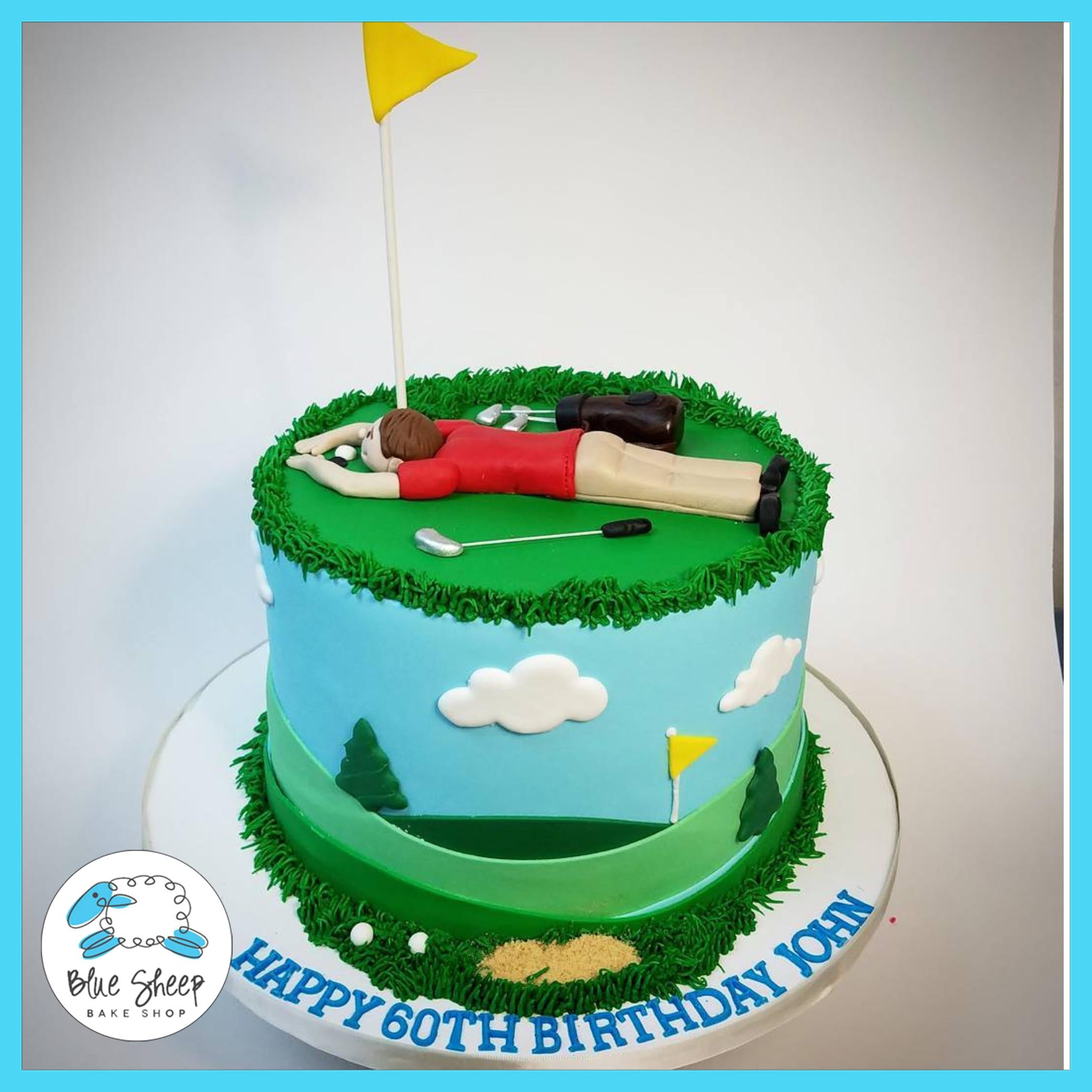 Excellent Johns 60Th Golf Themed Birthday Cake Blue Sheep Bake Shop Birthday Cards Printable Trancafe Filternl