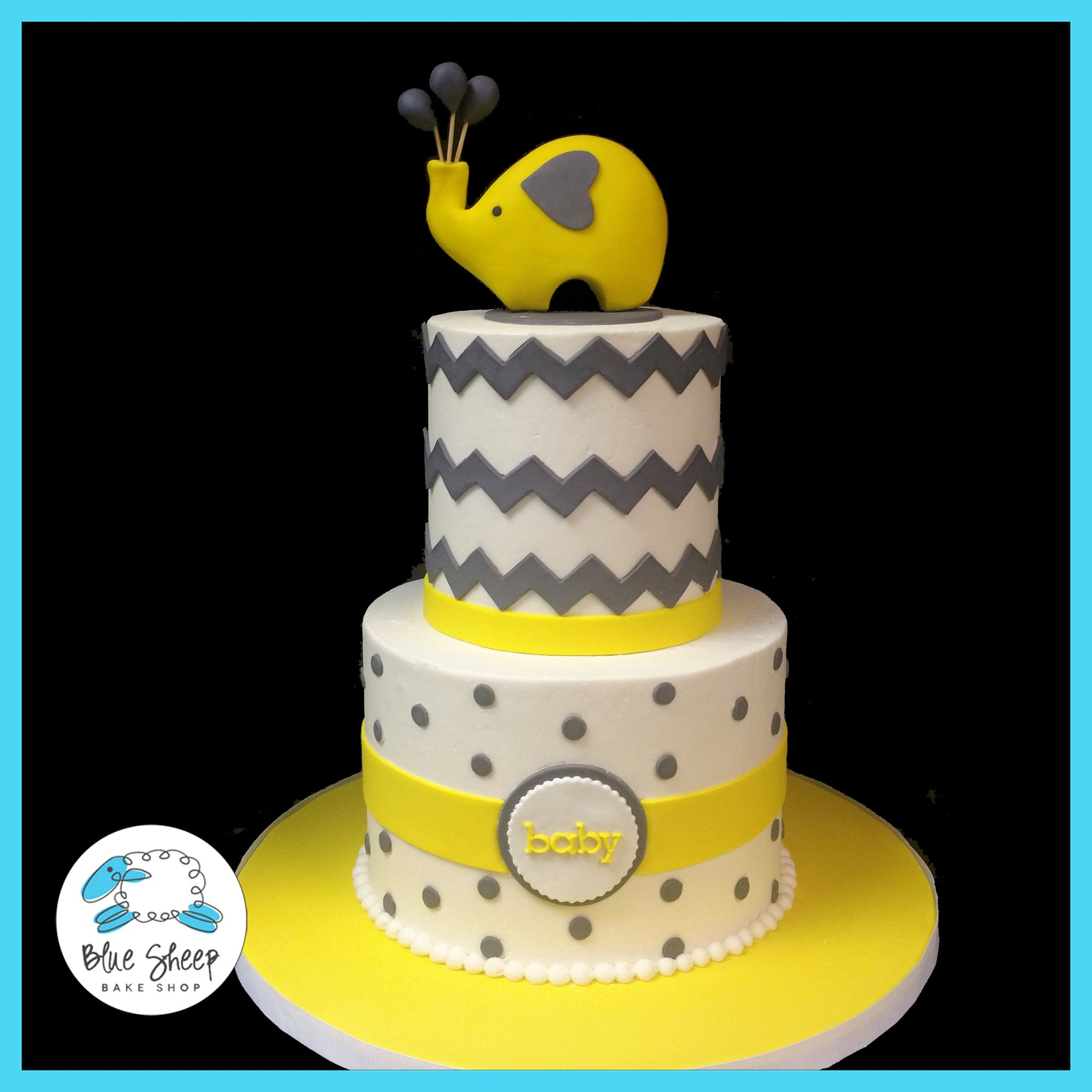 Grey Yellow Elephant And Chevron Baby Shower Cake Nj