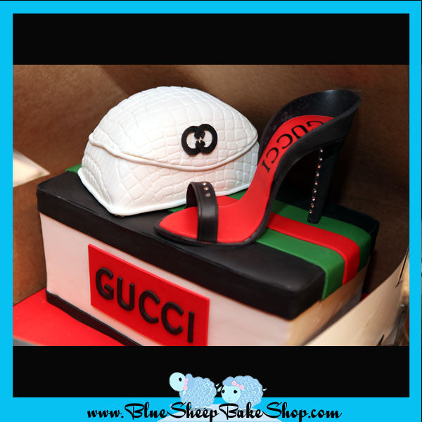 gucci shoe box cake with stiletto and purse