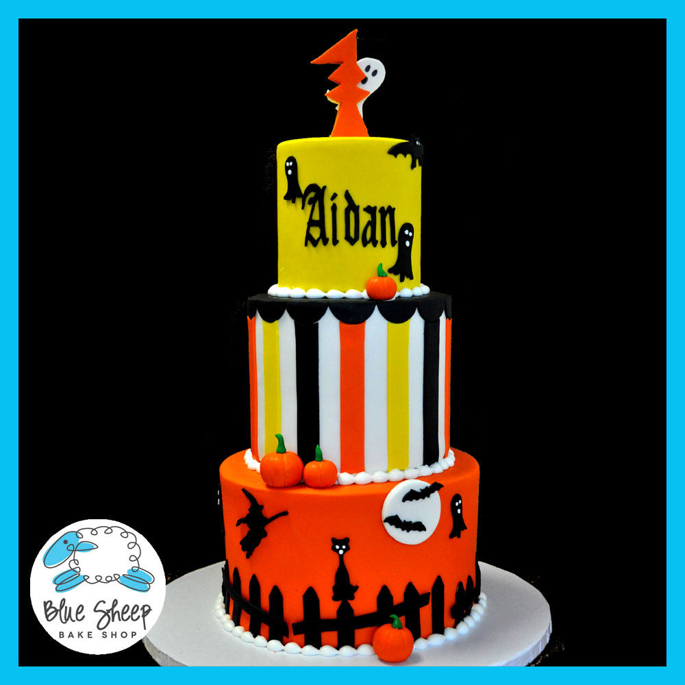 Stupendous Halloween 1St Birthday Cake Blue Sheep Bake Shop Funny Birthday Cards Online Barepcheapnameinfo