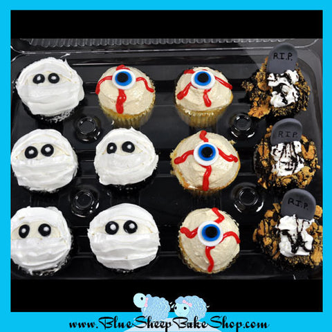 Halloween Cupcakes - Mummies, Eye balls, and Graves
