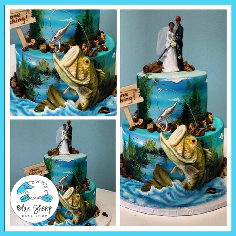 tiered bass fish wedding cake