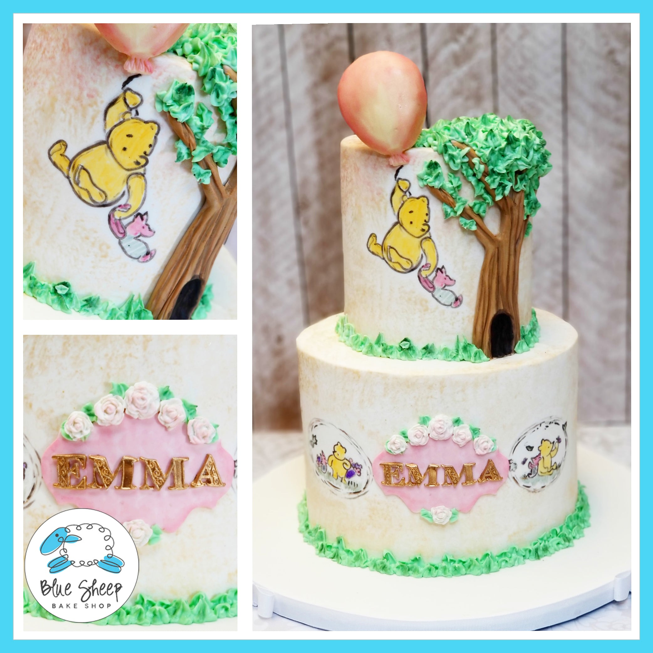 Magnificent Hand Painted Winnie The Pooh Baby Shower Cake Nj Blue Sheep Bake Funny Birthday Cards Online Alyptdamsfinfo