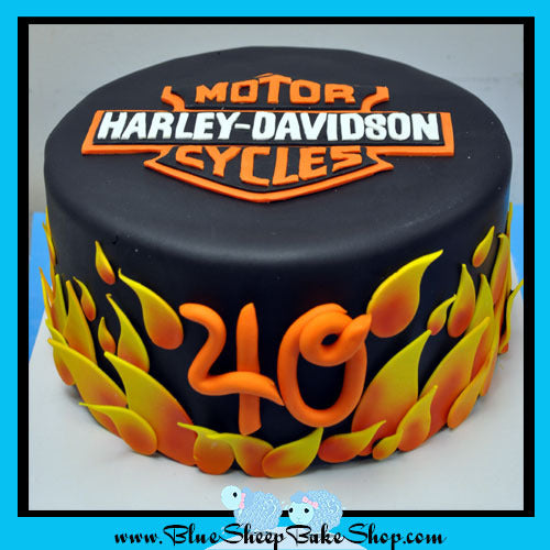 Harley Davidson 40th Birthday Cake Blue Sheep Bake Shop