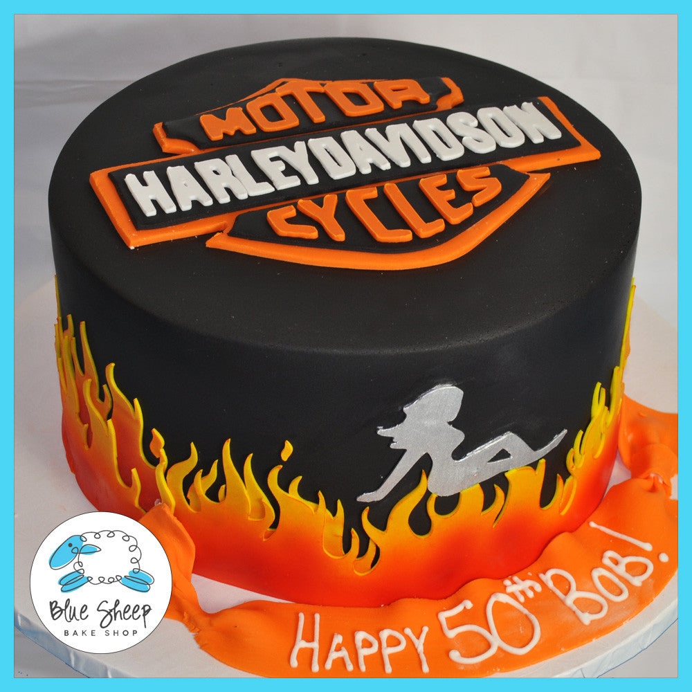 Stupendous Harley Davidson 50Th Birthday Cake Blue Sheep Bake Shop Funny Birthday Cards Online Overcheapnameinfo