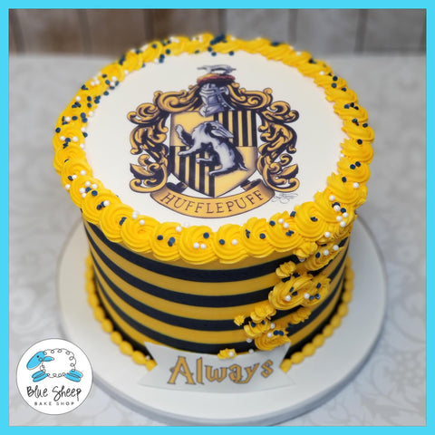 Buttercream Striped Harry Potter House of Hufflepuf Cake