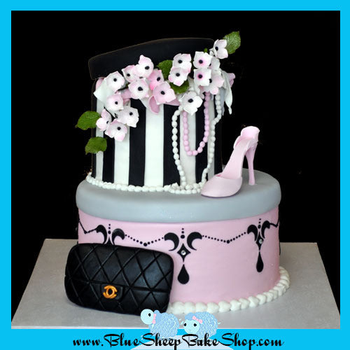 Fashion Hat Box Birthday Cake | Blue Sheep Bake Shop