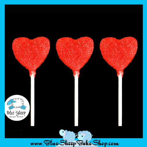 12 Glitter Heart Cake Pop Favors