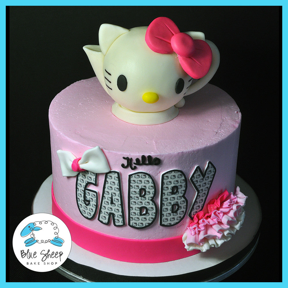 Super Hello Kitty Teapot Birthday Cake Blue Sheep Bake Shop Personalised Birthday Cards Cominlily Jamesorg