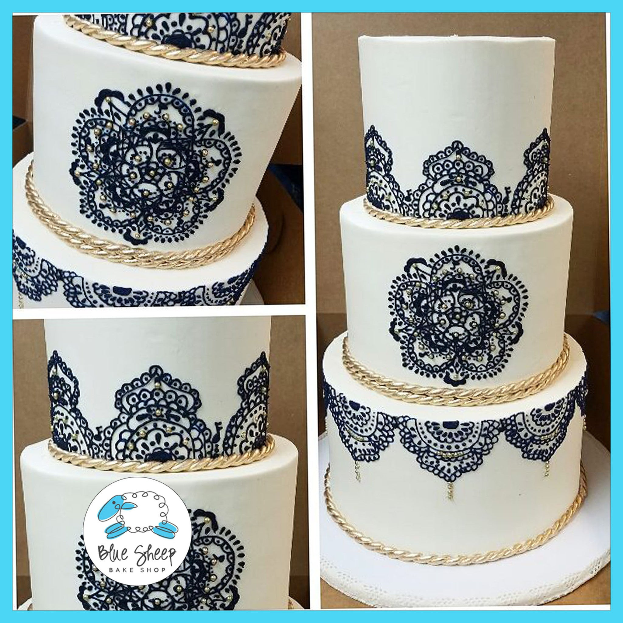 Navy And White Henna Wedding Cake Blue Sheep Bake Shop