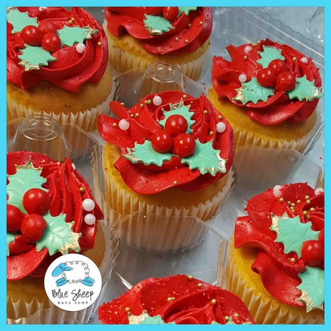 Holly Christmas Cupcakes - $47.40/doz
