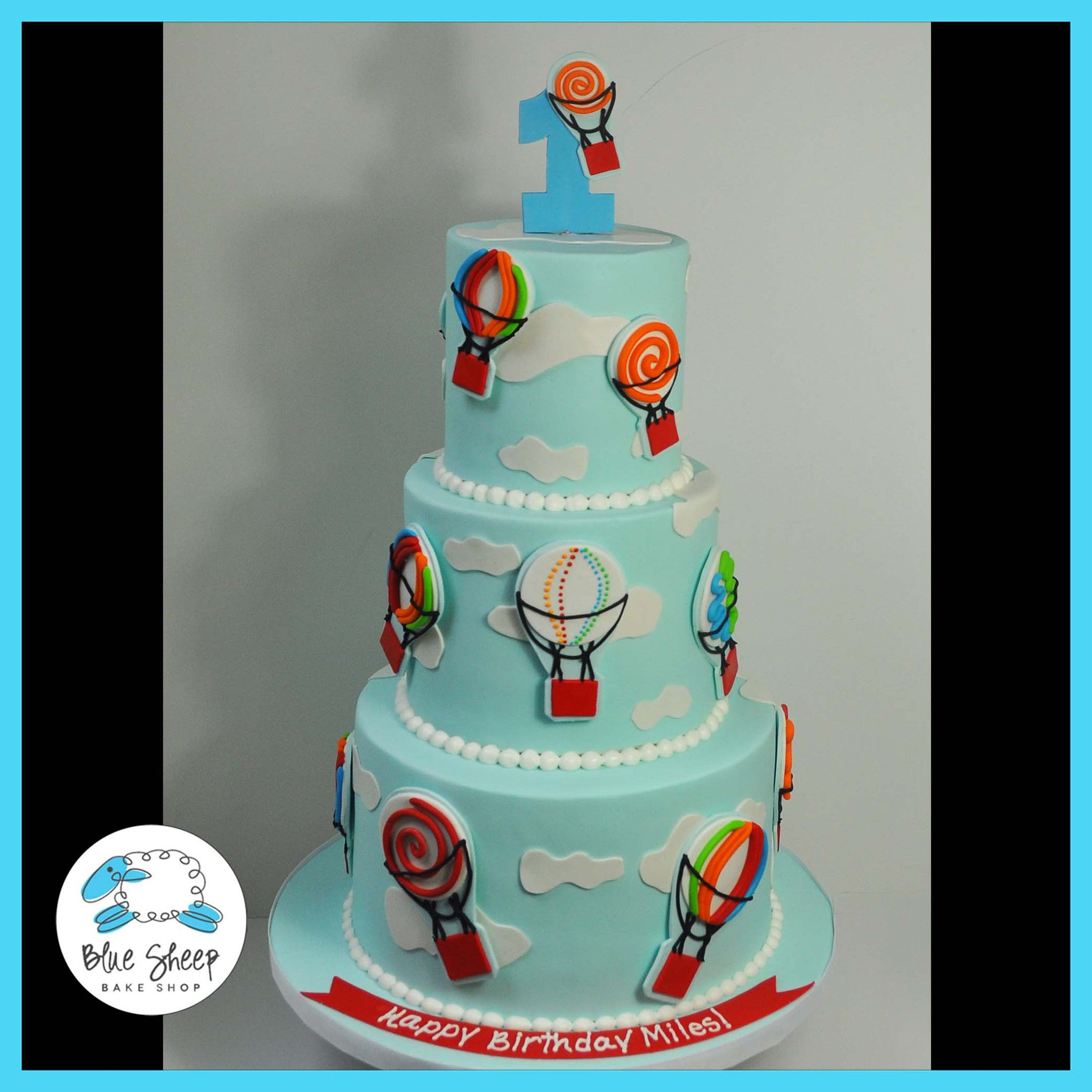 1st Birthday Hot Air Balloon Cake Blue Sheep Bake Shop