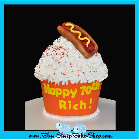 Custom Giant Cupcake Specialty Cake Hot Dog