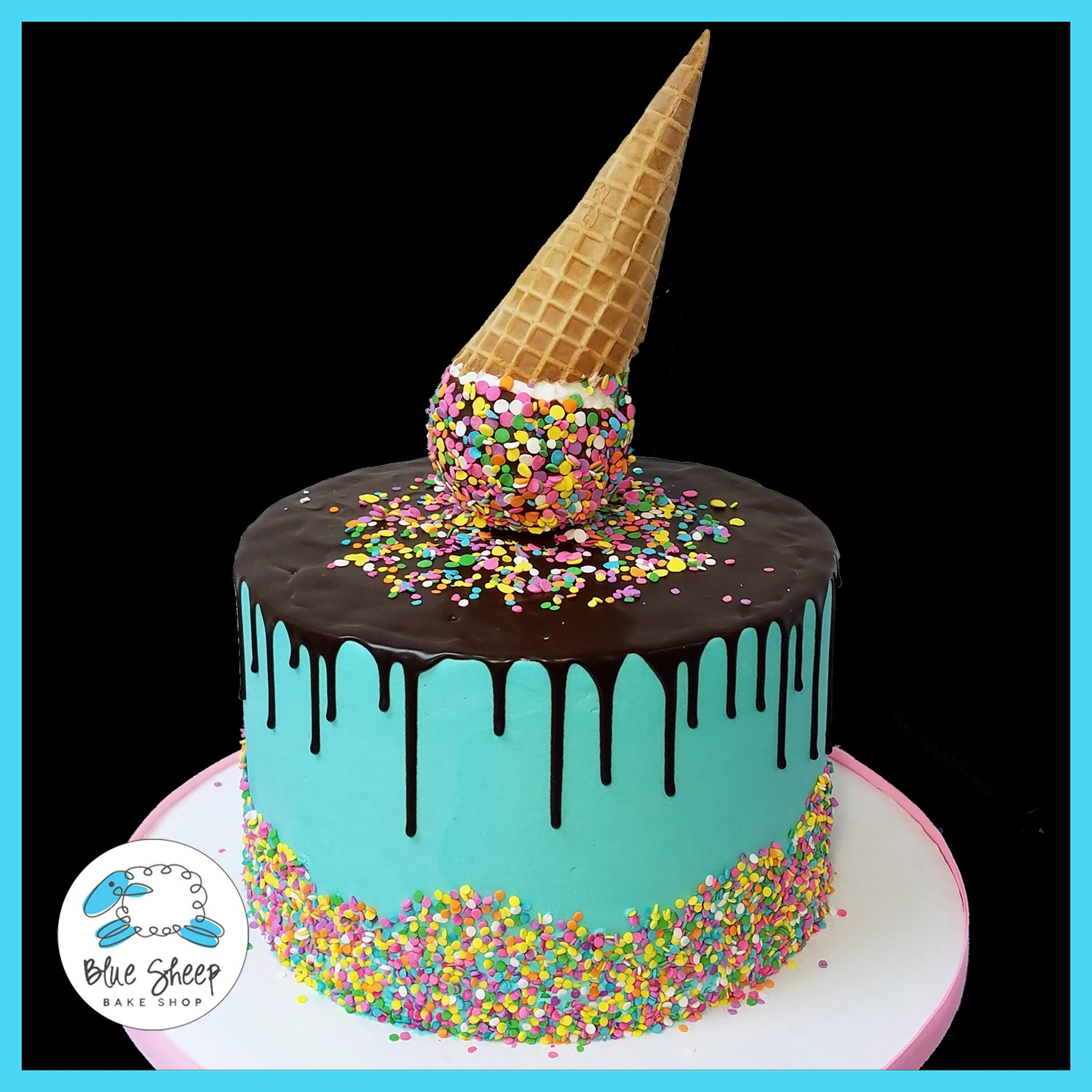 Ice Cream Cone Drip Cake Blue Sheep Bake Shop