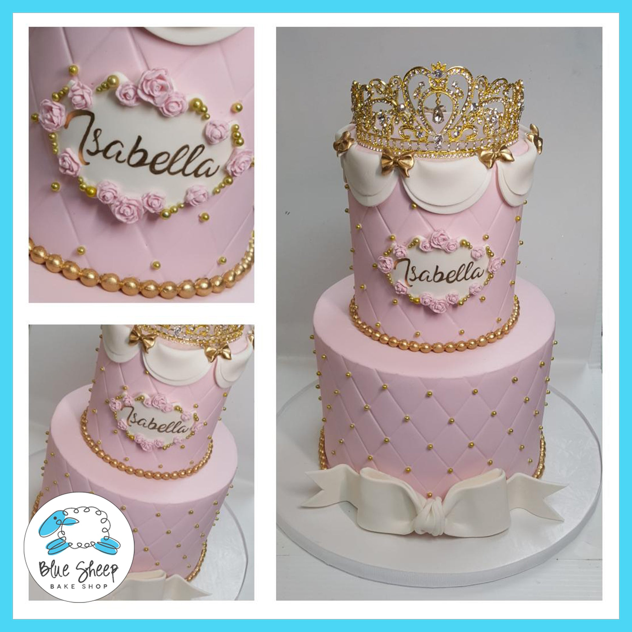 Swell Giannas Princesspink And Gold 1St Birthday Cake Blue Sheep Bake Funny Birthday Cards Online Inifodamsfinfo