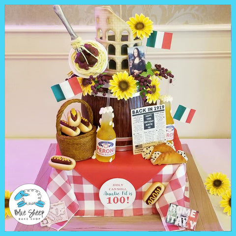 Italy themed 100th birthday cake