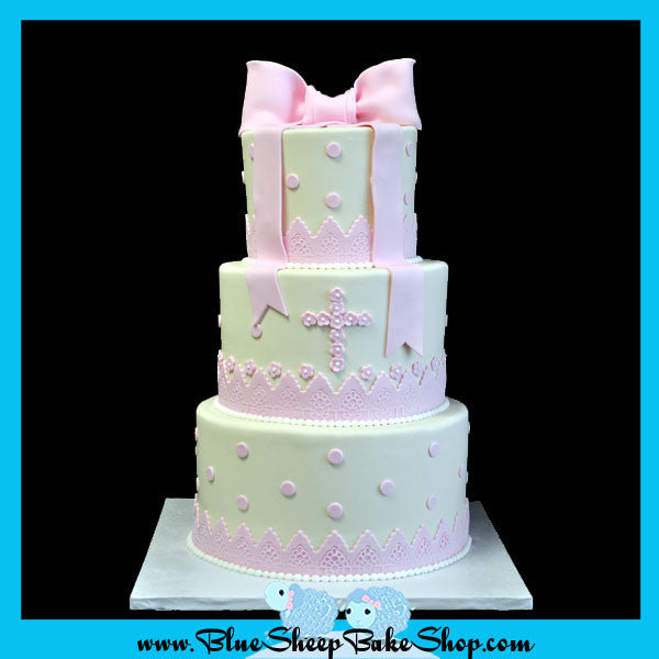 ivory and pink christening cake