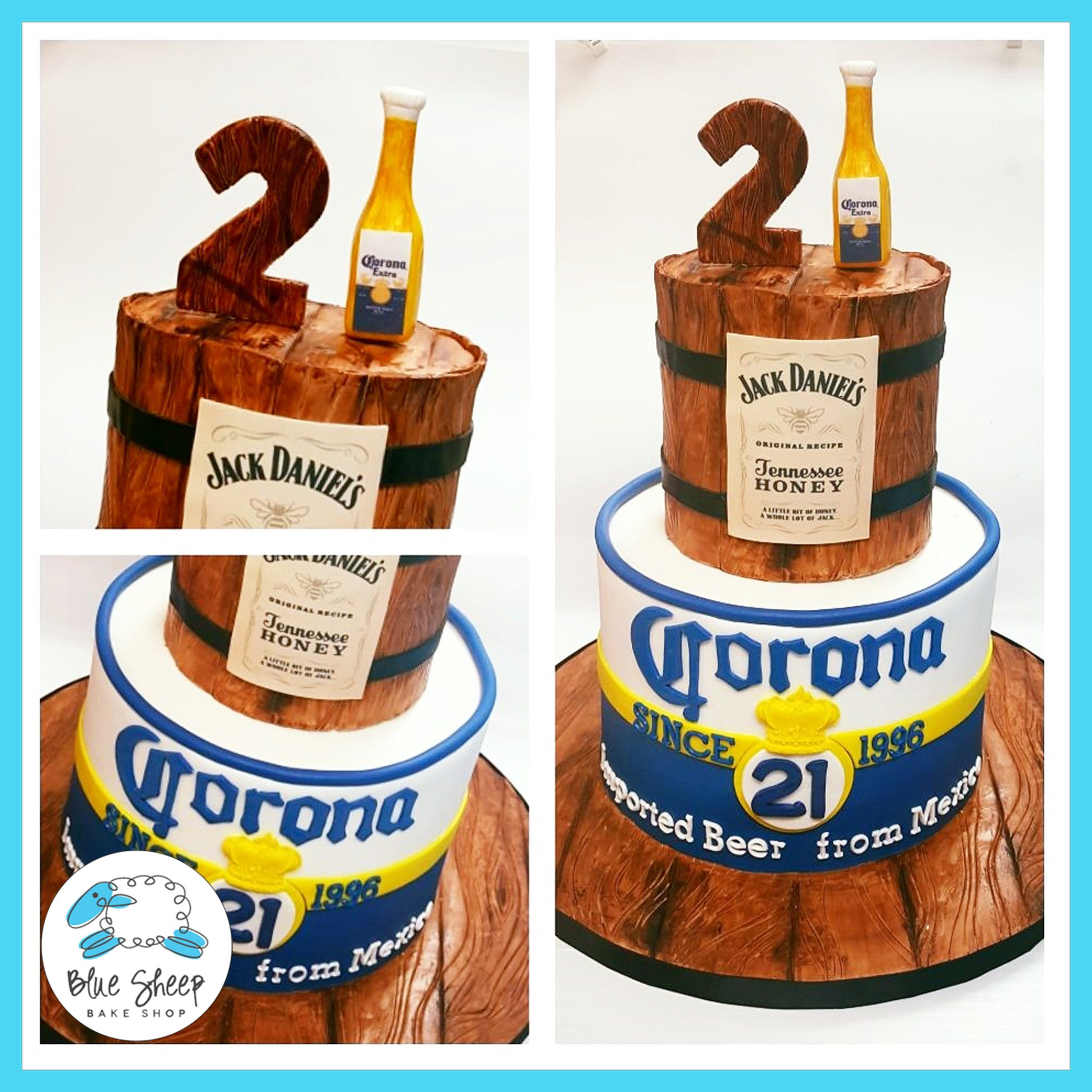 Fabulous Jack Daniels Corona Beer Cake Blue Sheep Bake Shop Personalised Birthday Cards Epsylily Jamesorg